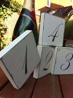 Table number wedding sign blocks shabby distressed chic gift- Want it