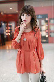 J71233 Korean Fashion three quarter sleeve Chiffon Shirt - $7.75