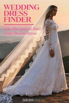 Find the dress that speaks to you with the new Wedding Dress Finder from David's Bridal. Answer a few questions, browse your results, then save and share your favorite styles. We select wedding dresses that match your size, shape, and style preferences, making it easier for you to find the perfect gown. Wedding dress shopping has never been so easy. Take the fun 6-question quiz and find your dream dress!
