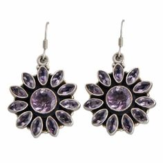 Amazon.com: Indian Jewelry Designs Amethyst Sterling Silver Earrings 1.5 Inches: ShalinCraft: Jewelry