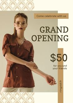 Grand Opening Fashionable Woman in Brown Outfit — Create a Design Brown Outfit, Grand Opening, Flyer Design, Celebrities, Ecommerce, Womens Fashion, Fashion Design, Template, Posters