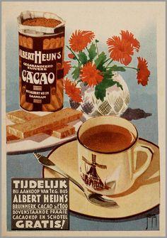 Tijdelijk bij aankoop van 1 kg bus Albert Heijn's bruinmerk cacao à f. Vintage Advertising Posters, Vintage Advertisements, Vintage Posters, Vintage Labels, Vintage Tea, Poster Ads, Poster Prints, History Of Chocolate, Old Ads