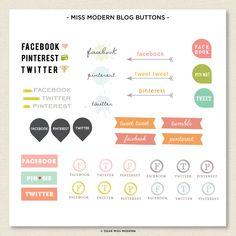 Blog Button Set — Dear Miss Modern