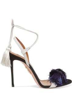 Heel measures approximately 105mm/ 4 inches Black and cream suede  Ties at ankle  Made in ItalySmall to size. See Size & Fit notes.