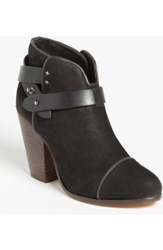 $525 RAG & BONE 'Harrow' Black Suede Leather Ankle Booties Size 38 (8)