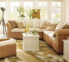 sun room furniture. Build Your Own - Seagrass Roll Arm Sectional Components. Sunroom FurnitureRattan Sun Room Furniture L