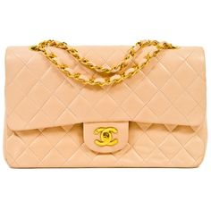Chanel Handbag | Chanel Peach Nude Lambskin Classic Large 2.55 Double... ❤ liked on Polyvore