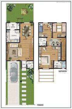 Duplex House Plans, Duplex House Design, Dream House Plans, Small House Plans, House Floor Plans, Narrow House Designs, Small House Design, Small Villa, Villa Plan