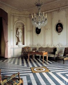 Chateau de Barbantane in Provence. note the beautiful Rococo scrolls on the boiserie Room Interior Design, Interior Styling, Interior And Exterior, Interior Decorating, Historical Architecture, Interior Architecture, Floor Design, House Design, Home Modern