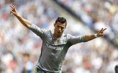 Download wallpapers Cristiano Ronaldo, 4k, Real Madrid, Spain, La Liga, gray T-shirts, CR7, soccer star