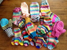 Collection of my KRAZY SOCKS, KRAZY MITTENS & Legwarmers I'm sending to the kids at the Pine Ridge Reservation!