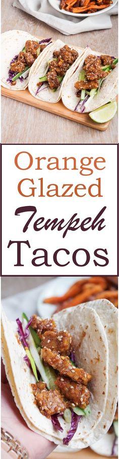 Orange glazed Tempeh Tacos - Asian inspired vegan tacos