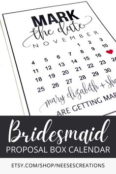 Mark The Date calendar cards would be a great addition to your bridesmaid proposal gift boxes to make sure everyone knows your wedding date. Bridesmaid Proposal Gifts, Bridesmaid Ideas, Flower Girl Gifts, Etsy Crafts, Bridal Shower Games, Everyone Knows, Color Card, Gift Boxes, Small Businesses