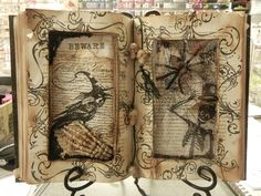 Two cut outs, decoupaged papers, stamped images, Dollar Store skeletons, embellishments.