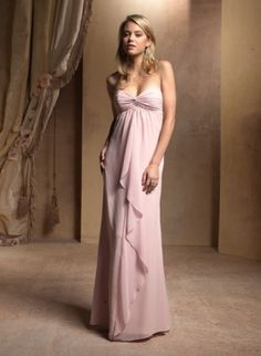 Vestido de fiesta color rosa en chiffon, lleva un escote drapeado del ...