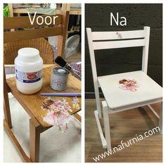 Krijtverf Alto Blanco van Anne's Shabby Paint aangebracht nadat het stoeltje ontvet was. Zodra alles droog is pas een servet aanbrengen met decoupage techniek.