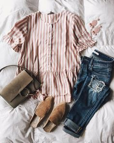 "2,272 Likes, 36 Comments - Ashley (@twentiesgirlstyle) on Instagram: ""Pink crush Obsessed with this little striped top that has the sweetest hem and ruffle detailing on…"""