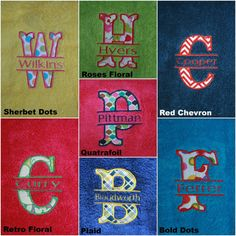 This appliqued monogrammed towel makes a perfect birthday, graduation, or wedding gift. The towel is a standard size. Monogrammed Beach Towels, Monogram Towels, Towel Embroidery, Embroidered Towels, Red Chevron, Retro Floral, Embroidery Designs, Wedding Gifts, Graduation