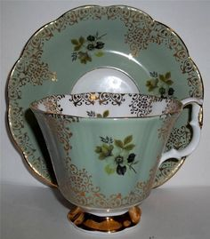 Royal Albert China Tea Cup and Saucer Rich Light Green with Gold | eBay