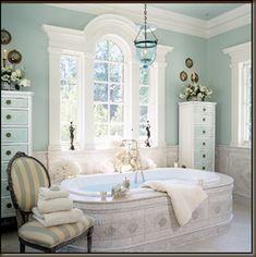 Barry Dixon chose a tinted belljar for this elegant bathroom.