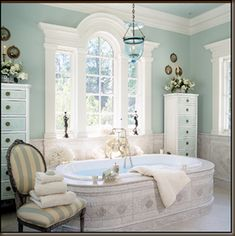 Elegant pale blue and white bathroom