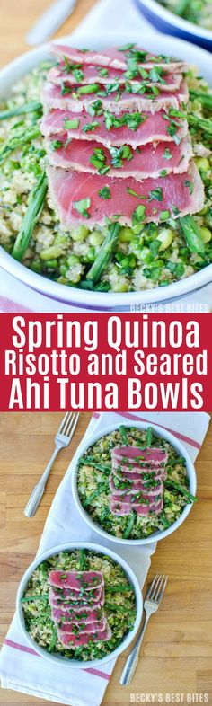 """Spring Quinoa Risotto and Seared Ahi Tuna Bowls are a healthy dinner recipe combining edamame, asparagus and arugula in a creamy rice dish topped with sushi quality thaw and serve"""" ahi with a Garlic-Peppercorn Rub. beckysbestbites.com #sponsored #BBSuperFresh #Seafoodies"""