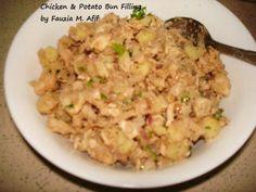 Chicken & Potato Buns Filling - Fauzia's Kitchen Fun My Recipes, Chicken Recipes, Meat Bun, Desi Food, Chicken Potatoes, Peeling Potatoes, Exotic Food, Middle Eastern Recipes, Boneless Chicken
