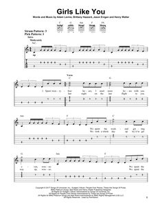 Maroon 5 Girls Like You Guitar Tabs, Sheet Music Maroon 5 Girls Like You sheet music, piano notes, chords. Transpose, print or convert PDF and learn to play Easy Guitar Tab score in minutes. Guitar Tabs Acoustic, Easy Guitar Tabs, Easy Guitar Songs, Guitar Chords For Songs, Acoustic Guitar Lessons, Ukulele Tabs, Music Guitar, Guitar Notes, Music Chords