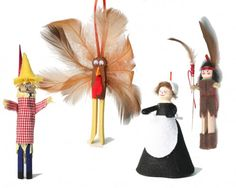 Old fashion wooden clothespin ornament kit. Everything included to make 4 ornaments to hang. Glue and paint are sold separately. Kit makes Scarecrow,