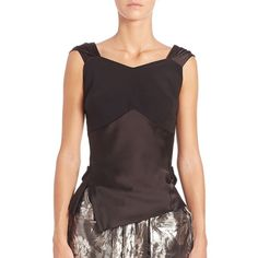 Maison Margiela Bustier Peplum Blouse (222.125 CLP) ❤ liked on Polyvore featuring tops, blouses, apparel & accessories, black, fitted blouse, fitted tops, bustier peplum top, sweetheart top and sweetheart bustier top