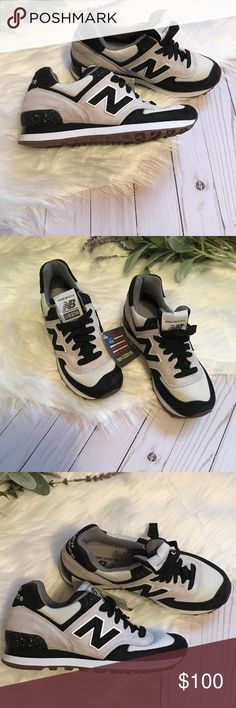 NWT New Balance US574 Women's Sneakers size 5.5 New Balance US574 Women's Sneakers NO BOX Size 5.5 Women's  Excellent Condition Suede on lighter gray portion Black + light gray  Speckled some on back heel. See pics for detail Smoke free home New Balance Shoes Sneakers