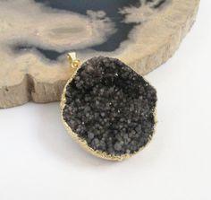 Titanium Crystal Druzy Pendant  Dark Brown Charcoal  by BijiBijoux