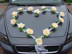 ORGANZA HERZ Auto Schmuck Braut Paar Rose Deko Dekoration hochzeit autoschmuck