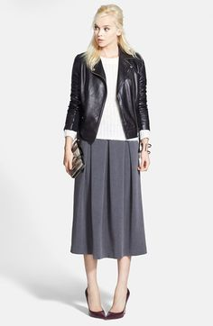 Trouvé Leather Jacket, Crop Sweater & Chelsea28 Midi Skirt  available at #Nordstrom