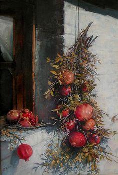 Pomegranates by Demetrios Vlachos - Obst Pomegranate Art, Fruit Photography, Art Thou, Still Life Art, Calligraphy Art, Art Pages, Acrylic Painting Canvas, Portrait Art, Botanical Prints