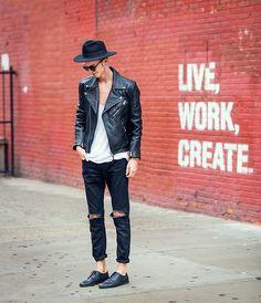 H&M Leather Biker Jacket, Masamod  Fedora Hat By Hungarian Designer, Vintage Diy, Derby Shoes Leather