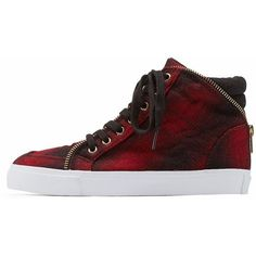 Charlotte Russe Red/Black Zipper-Trim Plaid Flannel High-Top Sneakers... ($20) ❤ liked on Polyvore featuring shoes, sneakers, lace up sneakers, high top sneakers, retro sneakers, red high top sneakers and red plaid shoes