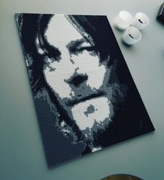 Norman Reedus portrait (The Walking Dead) perler beads by mejormanu (12 pegboards)