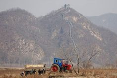 North Korean farmers work in a field as a section of the Great Wall is seen on the Chinese side of the Yalu River, north of the town of Sinuiju in North Korea and Dandong in China's Liaoning province, April 2, 2017. REUTERS/Damir Sagolj #NorthKorea #GreatWall