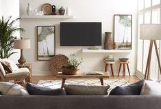 Narrow Living Room, New Living Room, My New Room, Home And Living, Modern Small Living Room, Tv On Wall Ideas Living Room, Small Living Room Ideas With Tv, Living Room Decor Tv, Modern Tv Wall