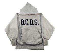 """90's 刺繍タグ チャンピオンRWパーカ """"B.C.D.S."""" ネイビープリント 表記(M)"""