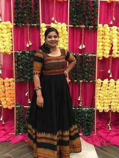 Innovative Ideas to make long gown dresses from old saree - Kurti Blouse Saree Gown, Sari Dress, Anarkali Dress, Lehenga, Anarkali Suits, Kalamkari Dresses, Ikkat Dresses, Long Gown Dress, Long Frock