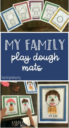 Family Play Dough Mats - free play dough mats. Great for talking about family members and a fun way to talk about the parts of the face!