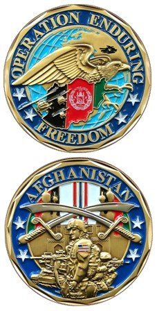 United States Military US Armed Forces Operation Enduring Freedom OEF Afghanistan Crossed Swords & Eagle - Good Luck Double Sided Collectible Challenge Pewter Coin EC http://www.amazon.com/dp/B0082YZ6HI/ref=cm_sw_r_pi_dp_I4lzub0MZA01N