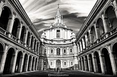 Sant'Ivo alla Sapienza - Rome by Fabio Lamanna on 500px #archeology #architecture #black and white #city #cupola #domes #fabio #italy #lamanna #nikkor #nikon #portico #rome #sky