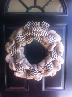 Chevron & Burlap Wreath