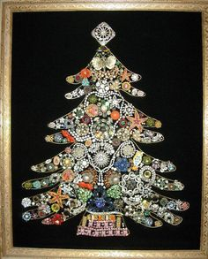We love our tree like this made out of family jewelry. Saving up some for my kids to have them too!Jewelry Christmas Tree by Glamour Smurf Vintage Christmas, Christmas Holidays, Christmas Crafts, Christmas Decorations, Christmas Ornaments, Bohemian Christmas, Christmas Goodies, Christmas Ideas, Holiday Decor