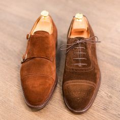 theshoemakerworld:  Suede is one of the best choices for spring. Oxford and Monkstrap in Brown suede of @artisanalmilano  www.theshoemakerworld.com