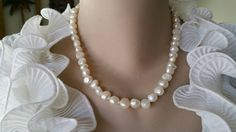 SALE Bridal Pearl Necklace  White by weddingbellsdesigns on Etsy