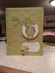 St. Patrick's day card using stampin up owl punch